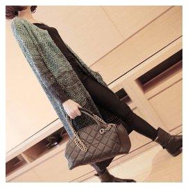 2015早秋裝長袖毛衣針織衫女式開衫中長款春 孔雀綠外搭薄外套