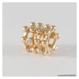 14K金鏤空格鑲嵌0.04ct 鑽石潘多拉pandora正品手鏈珠子澳洲
