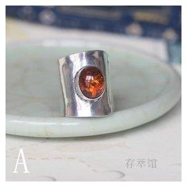 S925純銀 鑲嵌天然琥珀戒指誇張超大簡約簡單百搭開口可調節女