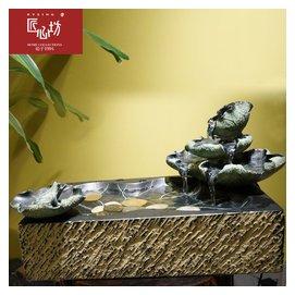 匠心坊正品 風水輪流水噴泉桌面裝飾擺件雨荷客廳招財擺飾工藝品