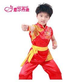六一兒童武術表演服 兒童武術中國功夫練功服男女 兒童舞蹈服團體 紅色 150