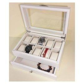 ~Jema2box~NG品!  原木製10格收藏 手錶盒  手鍊盒  收藏盒  飾品盒