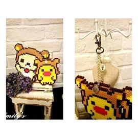 Emily  ^#39 s^~ 訂製拼豆 鑰匙圈 吊飾^~拉拉熊與小雞^(可分開^)^~送