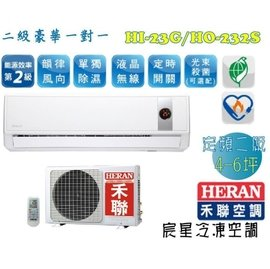 宸星│~HERAN~禾聯 一對一分離式 二級豪華 定頻單冷 壁掛式冷氣 空調 4~6坪 H