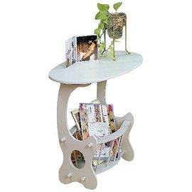~布拉格歐風傢俱~ 橢圓雜誌桌木製桌雜誌架 書櫃茶几邊桌泡茶桌角落 白色 胡桃色