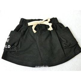 盛夏款 女  黑色棉質短裙~安全褲^(5~15號^)^~nanakids娜娜童櫥