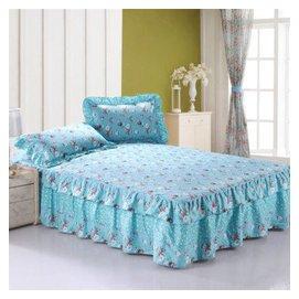 幫瑞全棉雙層花邊床裙 純棉斜紋印花單人雙人床品單層床裙床罩枕套單件 甜甜蜜蜜 180^~2
