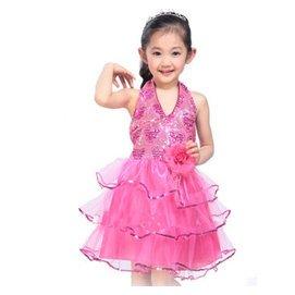 六一兒童禮服 公主裙女童禮服演出服春蓬蓬裙花童禮服夏婚紗裙 玫瑰紅色 120