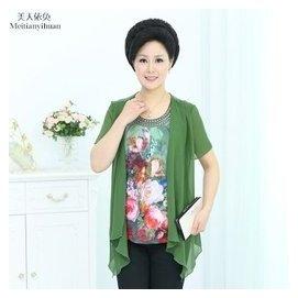 中老年女裝假兩件短袖恤長款雪紡短袖 中年女士媽媽夏裝上衣 綠色