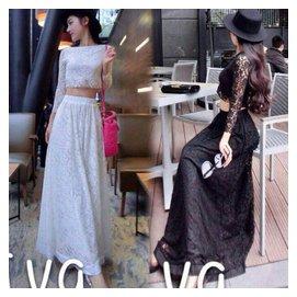 蘑菇街夏裝 長袖大擺高腰半身長裙仙氣質高挑女裙子套裝女