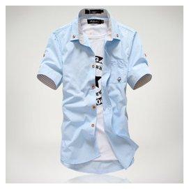 丹傑仕  夏天男士青少年男生學生 潮流短袖襯衫寸衫襯衣春 波點襯衫短袖恤衫 天藍色