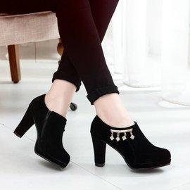 兩件起 潮 春秋 防水臺粗跟黑色高跟鞋磨砂皮低幫深口女士單鞋 顏色