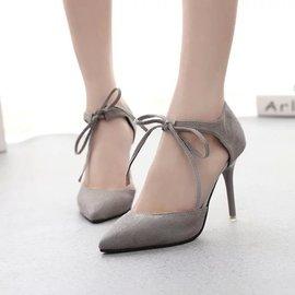 兩件起  尖頭細跟磨砂皮高跟鞋黑紅灰色系帶淺口超高跟涼鞋性感女單鞋潮 顏色