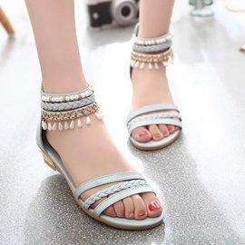 兩件起 春夏款民族風吊墜涼鞋學生款包根露趾平底舒適坡跟鞋子 顏色