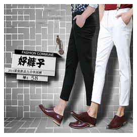 褲夏裝潮男九分褲白色褲子修身小腳9分褲 鉛筆吊帶褲英倫