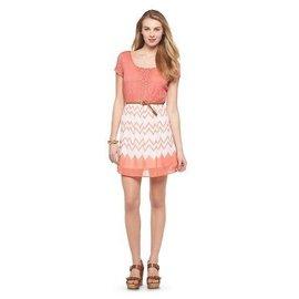 葳葳美國   美系品牌 洋裝 白橘紅 修小腹 幾何 蕾絲 A裙短裙 雪紡 棉絲  女裝