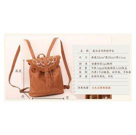 MACWE 日系小背包民族風繡花雙肩包 潮流森女系森林學院風書包 後背包 旅行包