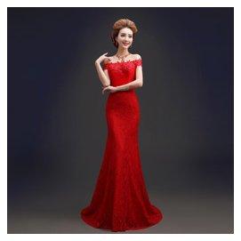 姣妮 新娘一字肩禮服 紅色婚紗禮服 蕾絲魚尾禮服 晚禮服婚禮旗袍 106 紅色小拖尾
