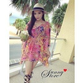 休閒 波希米亞V領縮腰綁帶繽紛花朵垂墜式短袖罩衫~25GM1206~Sunny.Store