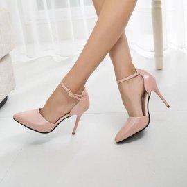 ~兩件~性感女單鞋尖頭白色淺口高跟鞋細跟女鞋 職業OL工作鞋