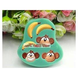 ^~小義士^~烘焙包裝^|烘焙工具^|猴子香蕉翻糖蛋糕矽膠巧克力裝飾模具 超輕粘土模 si