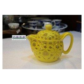 ^~世藏茶酩^~烏龍茶^|普洱茶^|花草茶^|景德鎮彩茶壺茶具高檔雙層隔熱壺黃金葉子黃龍