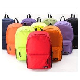 ^~JF^~ 可裝下15寸筆電喔^~^~學院風純色帆布旅遊雙肩包學生大容量糖果色背包男女生