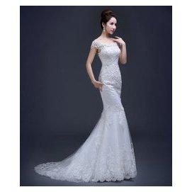 ~EY~Elie Saab款一字領蕾絲婚紗^!^!^! 拖尾魚尾禮服 修身韓式簡約顯瘦款P