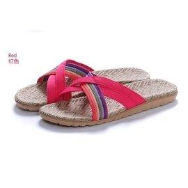 ,就愛夾腳拖!天然亞麻竹炭室內室外拖鞋,吸汗透氣 - 女款,斜條玫紅 35 36-37 3