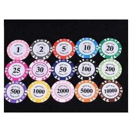 ZT 皇冠14克磨砂黏土德州撲克桌子麻將定製籌碼幣 自己選擇面額 最少100個