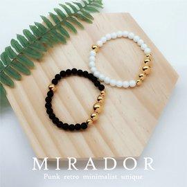 ~Mirador~ 黑瑪瑙 白瑪瑙 手串 佛珠 金珠 彈力 單圈 金屬 手鍊 手環