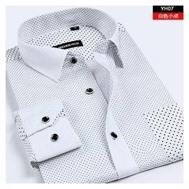 中年男士長袖襯衫男夏薄款純棉印花 男裝中老年爸爸裝襯衣