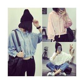 AIMEEL艾米莉國際   P711110# 新品寬松顯瘦純色連帽衛衣 棉質短款長袖外套