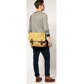 英國 ASOS 帆布 Messenger Bag斜背包 側背包 郵差包 米色 卡其色