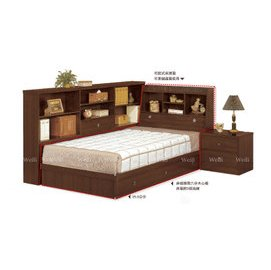 5E~新北蘆洲^~偉利傢俱~羅爾 3.5尺胡桃色書架型單人床^(不含床墊^)~編號(E67
