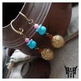 青銅世家耳環耳墜長款瑪瑙耳飾復古女古典民族風 原創飾品誇張