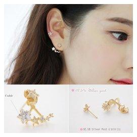 五角星星水晶氣質耳釘女 銅微鑲嵌 925純銀耳針韓國 耳環