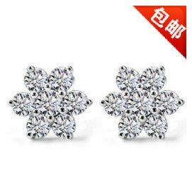 925純銀耳釘耳環女 韓國 耳飾 雪花鑲鑽石銀飾品 正品