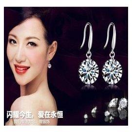 925純銀耳墜飾品9鑽石 超閃防過敏耳飾 韓國 女款高檔耳環