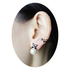 925純銀防過敏鑲鑽珍珠耳釘耳針女 黑白鑽石耳環送閨蜜