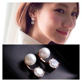 正品珍珠鋯石後掛式耳環女 鑽石耳釘高檔耳飾品