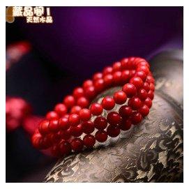 原創極品水晶仿紅珊瑚多層手鏈復古女款108顆佛珠手串情人節