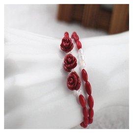 極品女款天然白色 粉色 紅色 玫瑰花雕刻吊墜雙層珊瑚手鏈女