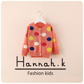 潮童爆款 裝 大波點 女寶寶毛衣 女童針織 開衫外套 上衣~粉紅、玫瑰紅 Hannah.K