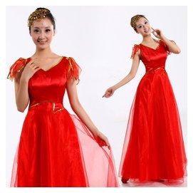 合唱舞蹈演出服裝 女大合唱禮服長裙 舞蹈表演服飾大碼舞台裝