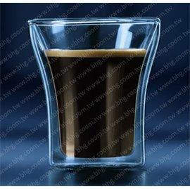 f03~雙層玻璃杯~曲線款耐熱雙層玻璃杯shot杯100ml~精緻 ~ 雞尾酒、烈酒、濃縮