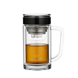 玻璃杯 男女透明水杯子 雙層加厚商務辦公杯 過濾網花茶杯 350 辦公杯