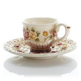 心花怒放浮雕玫瑰果汁牛奶杯清新茶杯套裝咖啡杯花草茶具可愛結婚杯碟勺