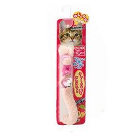 多格漫貓帶項圈 寵物脖套 帶鈴鐺銘牌安全扣 毛絨粉