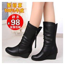 利嬌秋鼕 馬丁靴潮女靴子中靴厚底真皮高跟坡跟平底中筒靴短靴
